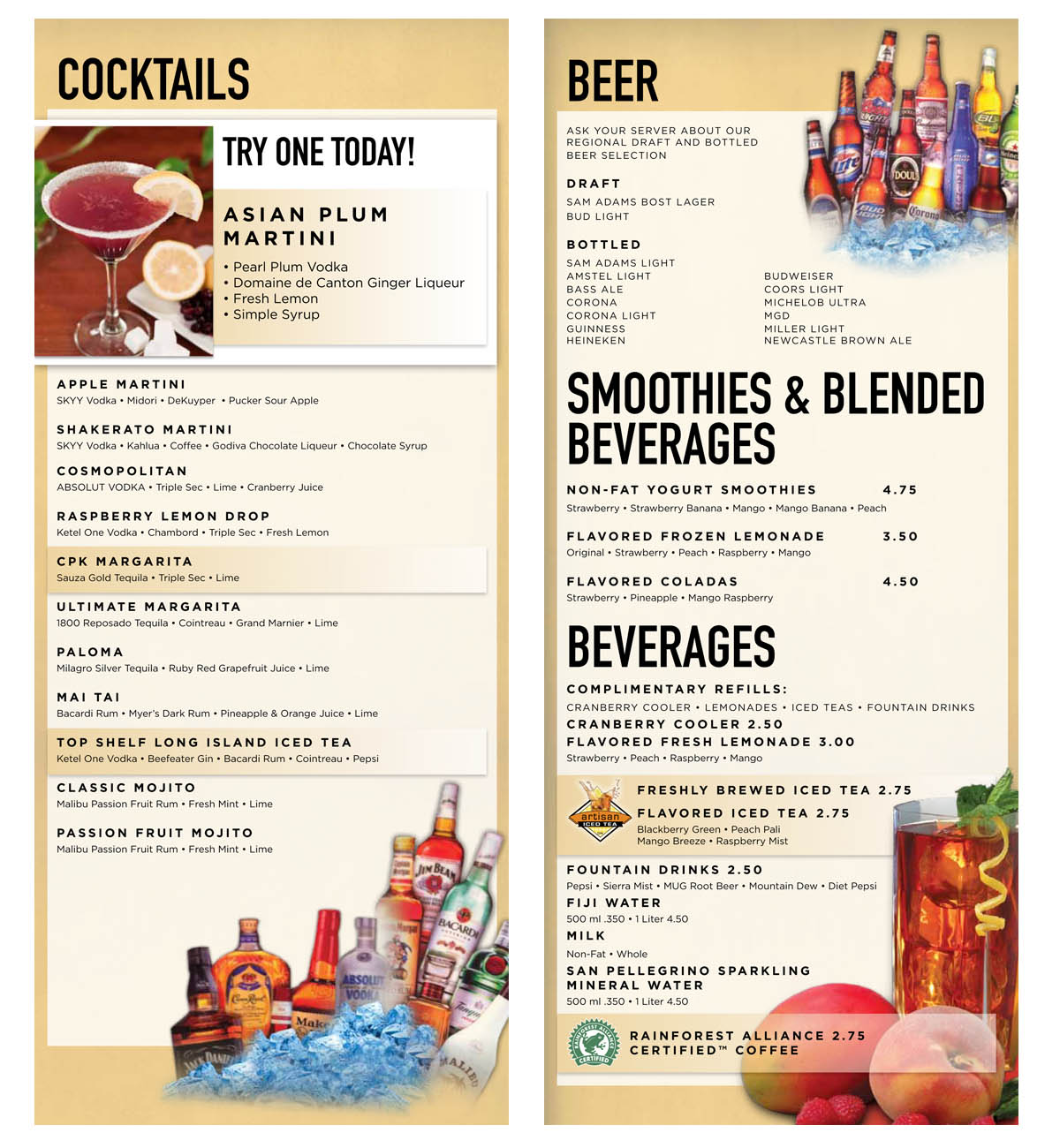 Drink Menu California Pizza Kitchen